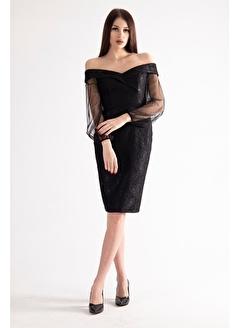 Belamore  Siyah Kayık Yaka Dantelli Kısa Abiye&Mezuniyet Elbisesi 1301571.01